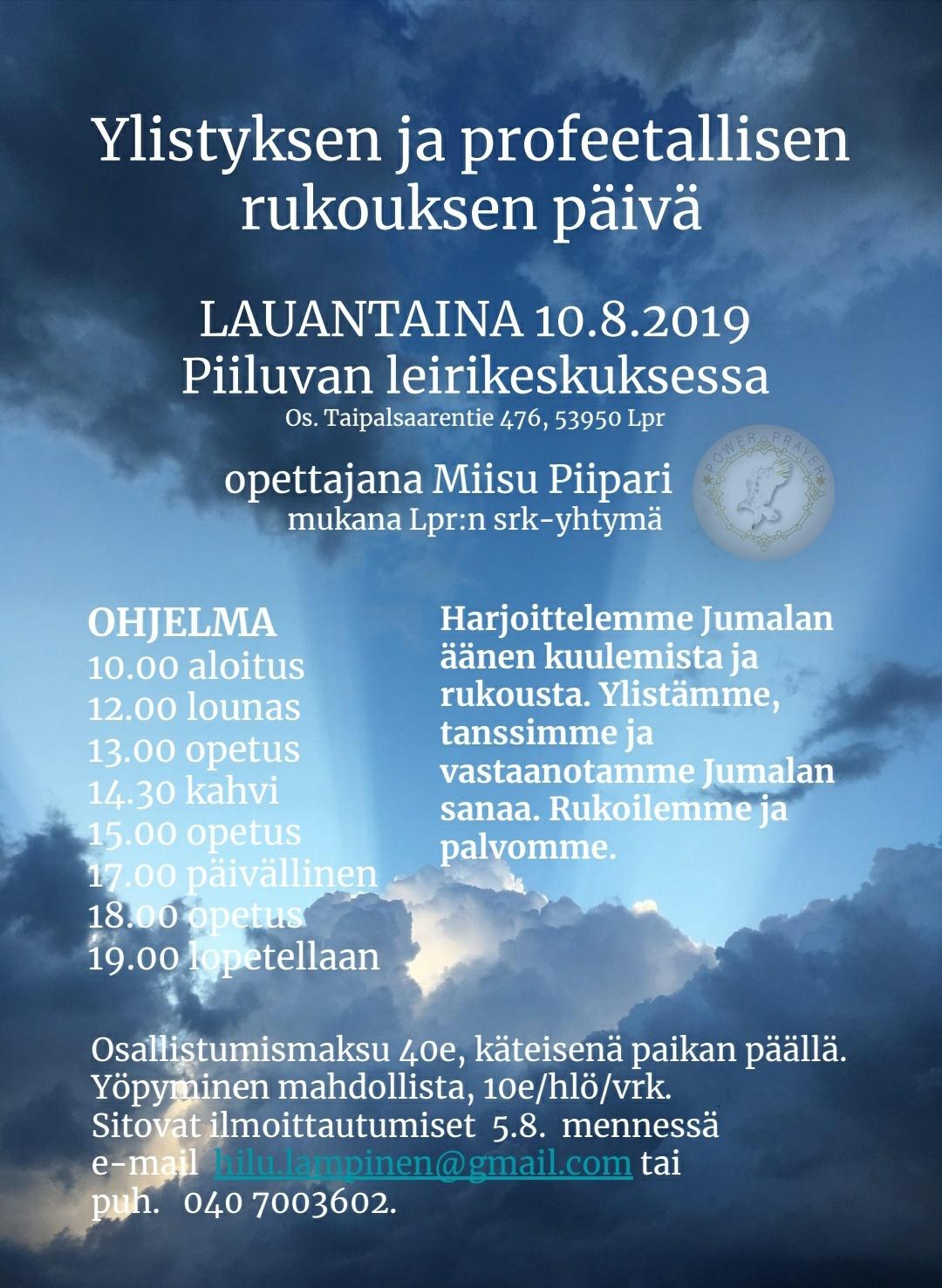 Ylistyksen ja profeetallisen rukouksen päivä 10.8.2019