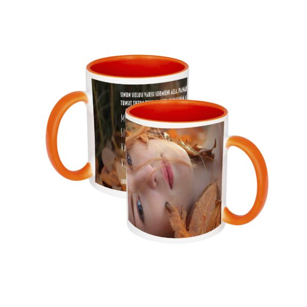 Power Prayer Olet Ihana -kuppi, jossa oranssi sisäpuoli ja kahva. Ulkopuolella kaunis kuva ja profeetallinen runo.